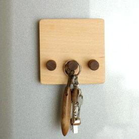 マグネット キーフック 鍵掛け 鍵かけ 壁掛けフック 3連 壁付け 磁石 木製 天然木 ビーチ ウォールナット おしゃれ シンプル 省スペース 玄関ドア 冷蔵庫 マグネット・キーフック