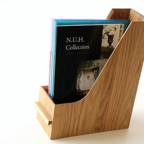 ファイルボックス 木製 A4 縦 ファイルスタンド おしゃれ ファイルラック ファイル収納 卓上 机上 ボックスファイル 縦置き 縦型 横置き 木目 天然木 無垢材 書類整理 シンプル インテリア ナチュラルウッドのファイルスタンド オーク