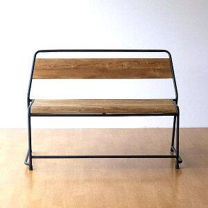 ベンチ 木製 アイアン 背もたれ 天然木 アンティーク アイアンとオールドチークウッドのベンチ