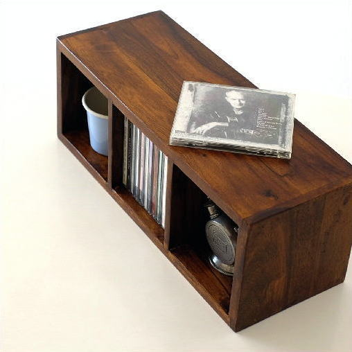 CDラック 木製 天然木 無垢材 CDボックス CD収納BOX 収納棚 小物入れ 収納ボックス 調味料ラック スパイスラック すきま収納 飾り棚 机上ラック 卓上ラック 仕切り ウッドボックス ウッドラック ディスプレイラック インドのウッドCDラック S