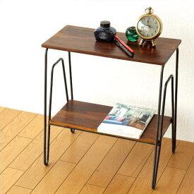 サイドテーブル 木製 アイアン 棚 シェルフ ソファサイドテーブル ナイトテーブル ベッドサイドテーブル シンプル スリム ナチュラル モダン サイドテーブル ナイトテーブル ベッドサイドテーブル 木製サイドテーブル 完成品 送料無料 シーシャム2段サイドテーブル
