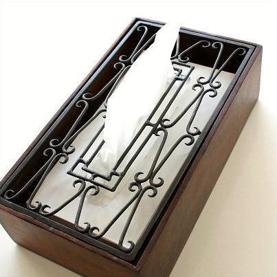 ティッシュケース おしゃれ 木製 ティッシュボックスケース ティッシュボックスカバー ティッシュカバー アイアンティッシュケースボックス D