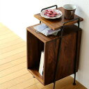 サイドテーブル おしゃれ 木製 ベッドサイドテーブル 収納 アイアンとシーシャムのサイドテーブル B