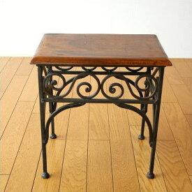 サイドテーブル おしゃれ 木製 アイアン アンティーク アジアン 電話台 ナイトテーブル ベッドサイドテーブル 玄関 花台 ソファテーブル ソファサイドテーブル 天然木 無垢材 アイアンとシーシャムのネストテーブル S