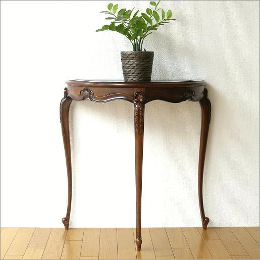 Console Table Wood Natural Wood Door Flower Phone Units Asian Furniture  Flower Stand Semicircle Halfmoon TEL Retro Antique Classic European  Furniture Solid ...