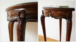 アジアン家具木製マホガニーコンソールM(彫入り猫脚)花台