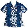 A lady's fitting cotton Hawaiian shirt is navy-blue