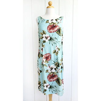 Hawaiian lady's rayon middle tank dress light blue