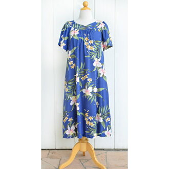 Hawaiian dress rayon midi length muumuu dress blue (3XL size)