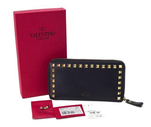 【中古】【美品】VALENTINO ヴァレンチノ ヴァレンティノ スタッズ ラウンドファスナー ロックテイスト イタリア製 黒 長財布