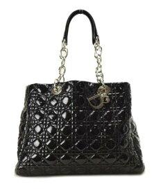 【中古】【美品】Christian Dior ディオール エナメル レディディオール 美品 シルバー金具 黒 ショルダーバッグ