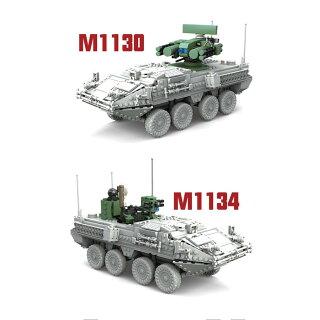 互換レゴlegoミニフィグ6体付き3in1M1128ストライカーMGS装甲車おもちゃ1:21ブロック