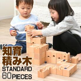 【今だけ価格】積み木 知育玩具 パズル 60ピース 木製ブロック スタンダード仕様 ピタゴラスイッチ 入学 お祝い プレゼント他社より6ピース多い 送料無料【父の日】