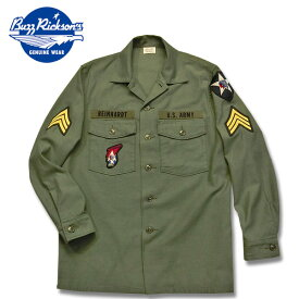 BUZZ RICKSON'S(バズリクソン)コットンサテンユーティリティーシャツ「OG-107」SHIRT,MAN'S,COTTON SATEEN,OLIVE GREEN SHADE 107 DEMILITARIZED ZONE【BR28662】