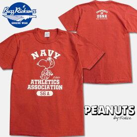 """BUZZ RICKSON'S(バズリクソンズ)×PEANUTS(ピーナッツ)コラボレーションTシャツ【BR77845 """"NAVY ATHLETICS""""】レッド"""