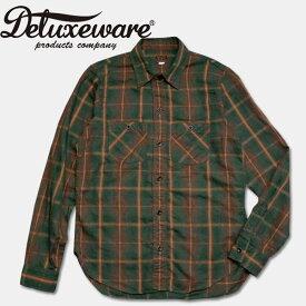 Deluxeware(デラックスウエアー)チェックワークシャツ【LV-06 THROUGH SERGE】GRASSY GREEN