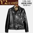 Y'2 LEATHER (ワイツーレザー)ANILINE HORSE 1st Gジャン(アニリンホースファーストGジャン)【LB-140】ブラック