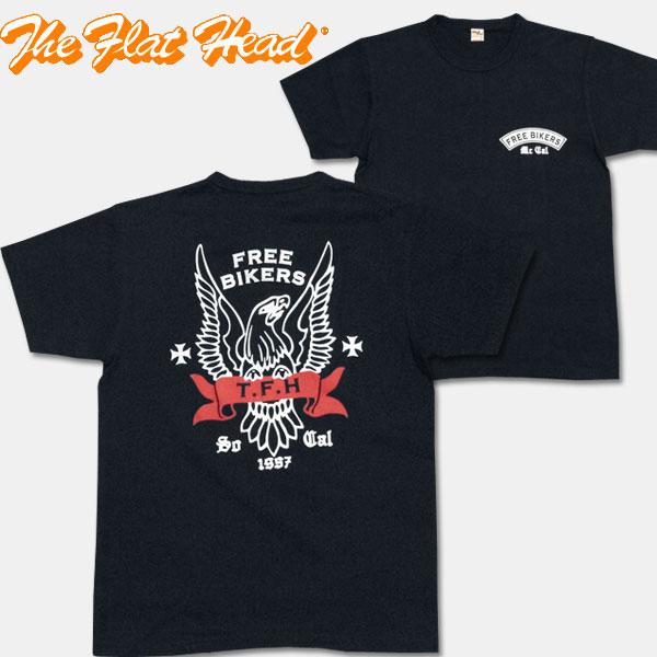 THE FLAT HEAD(フラットヘッド)半袖Tシャツ【TN-06W・1957】ネイビー