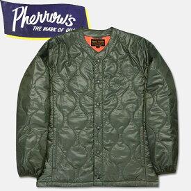 PHERROW'S (フェローズ )キルティングインナージャケット【17W-PIQJ1】セージグリーン×レスキューオレンジ