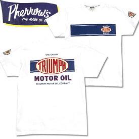 PHERROW'S(フェローズ)半袖Tシャツ【19S-PT3・TRIUMPH MOTOR OIL】ホワイト