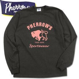PHERROW'S(フェローズ)プリント長袖Tシャツ【PLT2】S.ブラック