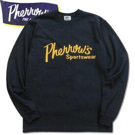 PHERROW'S(フェローズ)プリント長袖Tシャツ【PLT1】ネイビー