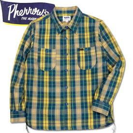 PHERROW'S (フェローズ )長袖チェックネルシャツ【19W-720WS】ネイビー×イエロー