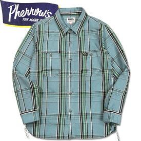 PHERROW'S (フェローズ )長袖チェックネルシャツ【19W-720WS】サックス×ブラック