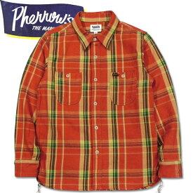 PHERROW'S (フェローズ )長袖チェックネルシャツ【19W-720WS】オレンジ×グリーン