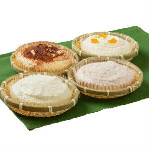 4種のかご盛ケーキセット レアチーズケーキ ティラミス 苺のレアチーズケーキ 北海道メロンレアチーズ