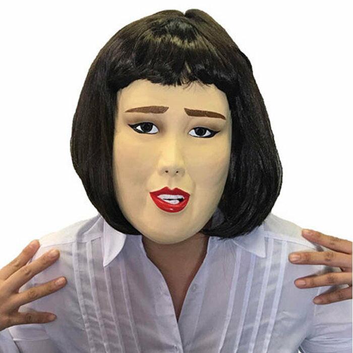 キャリアウーマン 半面マスク ラバーマスク ラバーマスク なりきりマスク 宴会 仮装 芸人 タレント かぶりもの パーティーグッズ 仮装衣装 ブルゾン