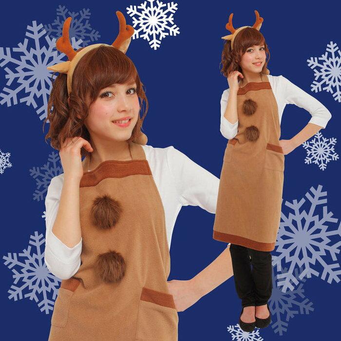 トナカイエプロンセット サンタ コスプレ クリスマス 家族クリスマス 女性用 トナカイ コスチューム 衣装 トナカイ
