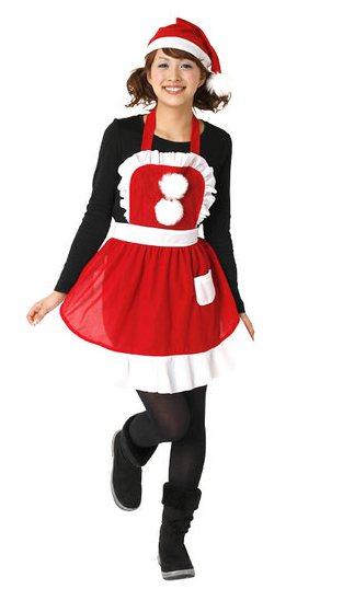 フリルクリスマスエプロン レディース サンタ コスプレ クリスマス コスチューム サンタクロース 衣装 ギフト 景品 プレゼント