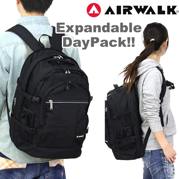 <ポイント10倍> AIRWALK エアウォーク リュック バックパック デイパック 黒リュック でかリュック 大容量 通学 通勤 メンズ レディース A1553010