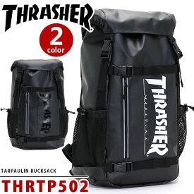 <ポイント10倍> THRASHER スラッシャー リュック リュックサック バックパック デイパック フラップリュック かぶせリュック スケボーリュック ボードストラップ付 ブラック THRTP502