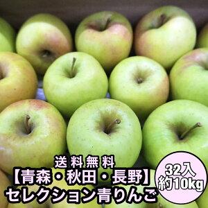 【青森・秋田・長野県産】セレクション青りんご 32入れ 10kg りんご フルーツ
