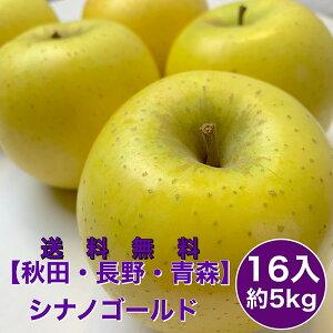 【青森・秋田・長野県産】 シナノゴールド 16入 5kg リンゴ りんご 林檎 おいしい 旬