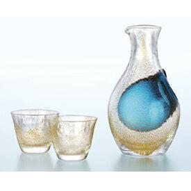 酒グラスコレクション ギフト 冷酒セット(金箔) 幅187×奥行111×高さ187(mm) 3入/業務用/新品