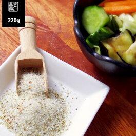 対馬産焼塩使用あさ漬け調理塩220g【メール便送料無料国産100%昆布、かつおだし、いりこパウダー、唐辛子入り】