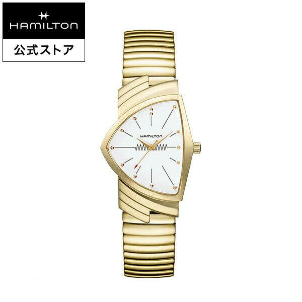 【ハミルトン 公式】 Hamilton Ventura L Q PVD2N-wh-brc ベンチュラ メンズ メタル | 腕時計 時計 メンズ腕時計 ブランド クォーツ ブレスレットウォッチ うでとけい ウォッチ クオーツ watch ウオッチ 男性用腕時計 メタルバンド 男性 イエローゴールド ジャバラ