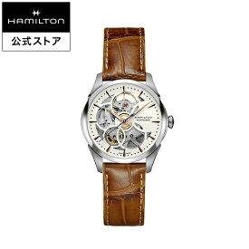 ハミルトン 公式 腕時計 HAMILTON Jazzmaster Viewmatic Skeleton Lady ジャズマスター ビューマティック スケルトン レディ オートマティック 自動巻き 36.00MM レザーベルト ホワイト × ブラウン H32405551 レディース腕時計 女性 正規品 ブランド