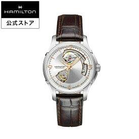 ハミルトン 公式 腕時計 HAMILTON Jazzmaster Open Heart ジャズマスター オープンハート オートマティック 自動巻き 40.00MM レザーベルト シルバー × ブラウン H32565555 メンズ腕時計 男性 正規品 ブランド ビジネス シンプル