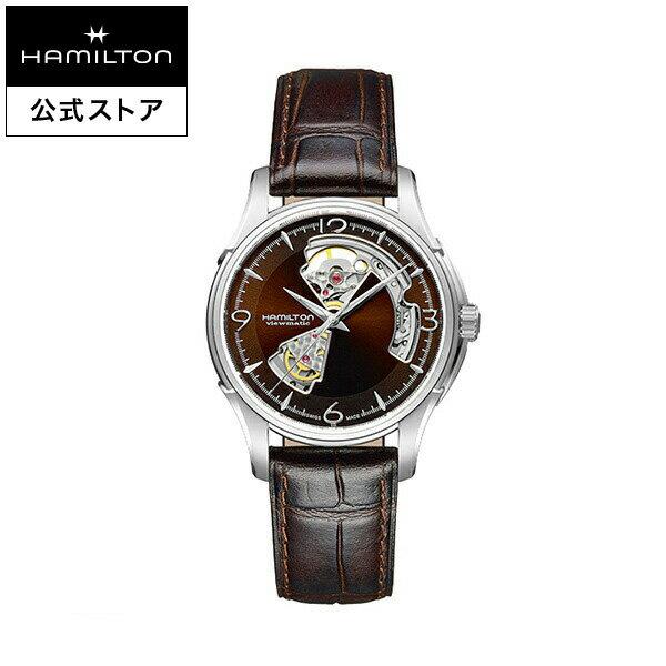 ハミルトン 公式 腕時計 Hamilton Jazzmaster Open Heart ジャズマスター オープンハート メンズ レザー   正規品 時計 メンズ腕時計 ブランド 自動巻き 革ベルト ウォッチ 自動巻 ビジネス 機械式 おしゃれ 男性腕時計 紳士 革 男性 20mm ブラウン 皮ベルト