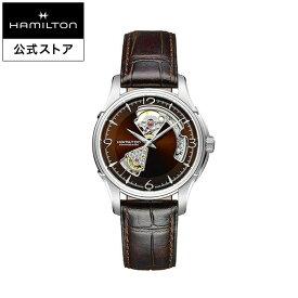 ハミルトン 公式 腕時計 HAMILTON Jazzmaster Open Heart ジャズマスター オープンハート オートマティック 自動巻き 40.00MM レザーベルト ブラウン × ブラウン H32565595 メンズ腕時計 男性 正規品 ブランド ビジネス シンプル