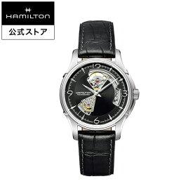 ハミルトン 公式 腕時計 HAMILTON Jazzmaster Open Heart ジャズマスター オープンハート オートマティック 自動巻き 40.00MM レザーベルト ブラック × ブラック H32565735 メンズ腕時計 男性 正規品 ブランド ビジネス シンプル
