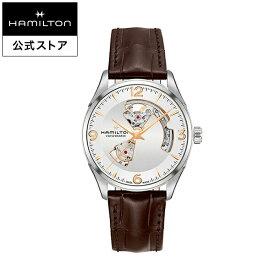 ハミルトン 公式 腕時計 HAMILTON Jazzmaster Open Heart ジャズマスター オープンハート オートマティック 自動巻き 42.00MM レザーベルト シルバー × ブラウン H32705551 メンズ腕時計 男性 正規品 ブランド ビジネス シンプル