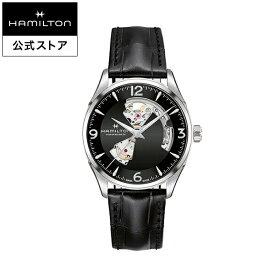 ハミルトン 公式 腕時計 HAMILTON Jazzmaster Open Heart ジャズマスター オープンハート オートマティック 自動巻き 42.00MM レザーベルト ブラック × ブラック H32705731 メンズ腕時計 男性 正規品 ブランド ビジネス シンプル