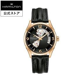 ハミルトン 公式 腕時計 HAMILTON Jazzmaster Open Heart ジャズマスター オープンハート オートマティック 自動巻き 42.00MM レザーベルト ブラック × ブラック H32735731 メンズ腕時計 男性 正規品 ブランド ビジネス シンプル