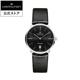 ハミルトン 公式 腕時計 HAMILTON American Classic Intra-Matic アメリカンクラシック イントラマティック オートマティック 自動巻き 38.00MM ブラック × ブラック H38455731 メンズ腕時計 男性 正規品 ブランド ビジネス シンプル