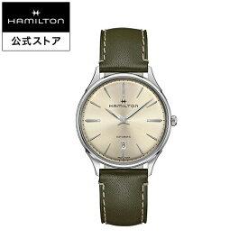 ハミルトン 公式 腕時計 HAMILTON Jazzmaster Thinline ジャズマスター シンライン オートマティック 自動巻き 40.00MM レザーベルト ベージュ × グリーン H38525811 メンズ腕時計 男性 正規品 ブランド ビジネス シンプル